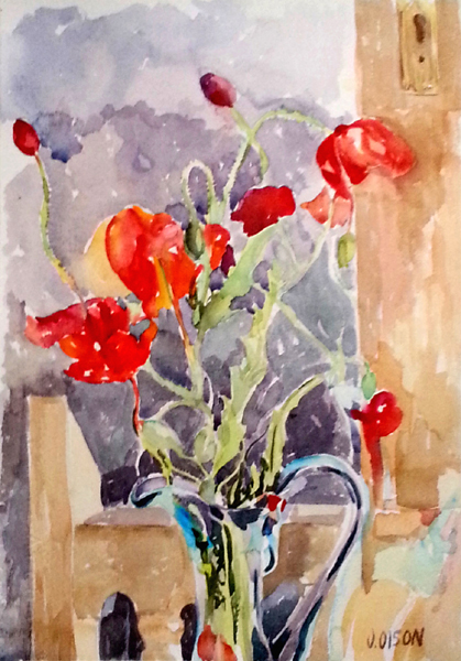 Poppies in Blue Vase in Front of Chair. A watercolor of red poppies, a wood chair and blue ewer.