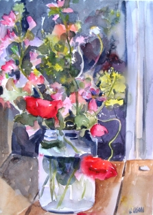 A watercolor of spanish red poppies with purple and little yellow flowers in a pickle jar.