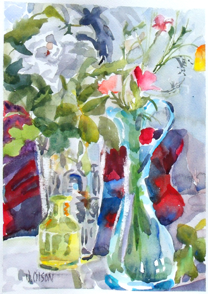 A watercolor of a blue ewer, small yellow bottle and crystal vase with poppies and white rose.