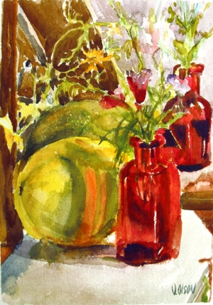 A watercolor of a bright yellow mellon and a small red bottle with flowers-