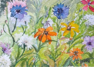 Watercolor of California wild flowers white purple violet and crimson little flowers