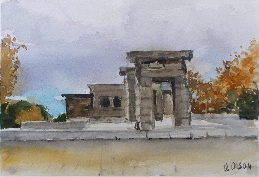 Watercolor of the Debod Temple in the autumn with trees with orange leaves in the background. ancient Egyptian architecture