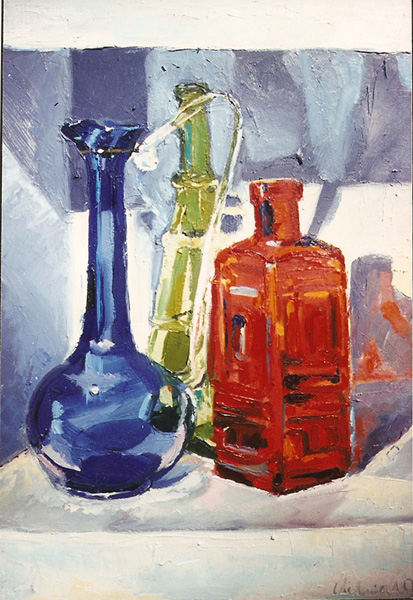 An Oil painting of three bottles. On is an Ewer, a blue glass ewer a tall green bottle and a square red bottle on a whte shelf with lots of cast shadows of colors.