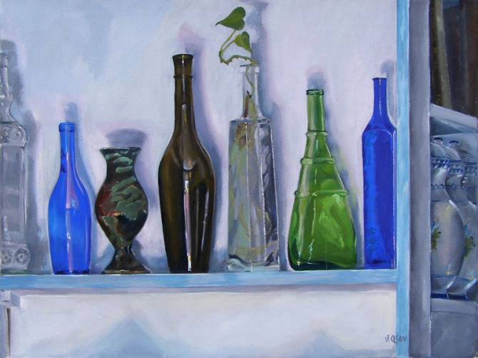 Oll painting of glass bottles on a narrow white shelf. A clear bottle, a blue glass water bpttñe. a tall brown bottle and a green bottle with a racu pinch pot.