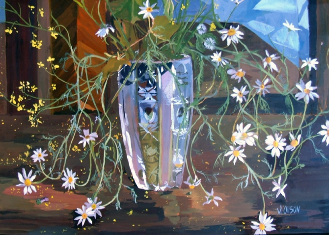 An Egg tempera painting of a crystal vase sitting on a wooden table reflecting in the mirror. The vase is full of white daisiess. The colors are browns, tans blacks, glass color of blues and whites and the daisies and their stems are white and green with a yellow spot in the middle of the daisies.