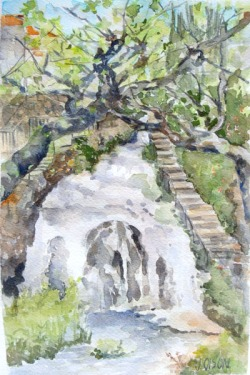 watercolor of waterfall running through a little town called Trillo. Lots of green everywhere and a blue sky