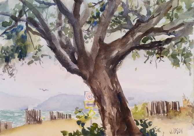 A watercolor of the shoreline painted under a big tree. soft background with pink and purple mountains, blue water with little white waves., a flimsly looking stick fence protecting the wildlife sanctuary.