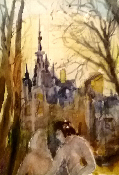 Watercolor of Two men in front of a Castle wotj trees on both sides and a golden color sky.