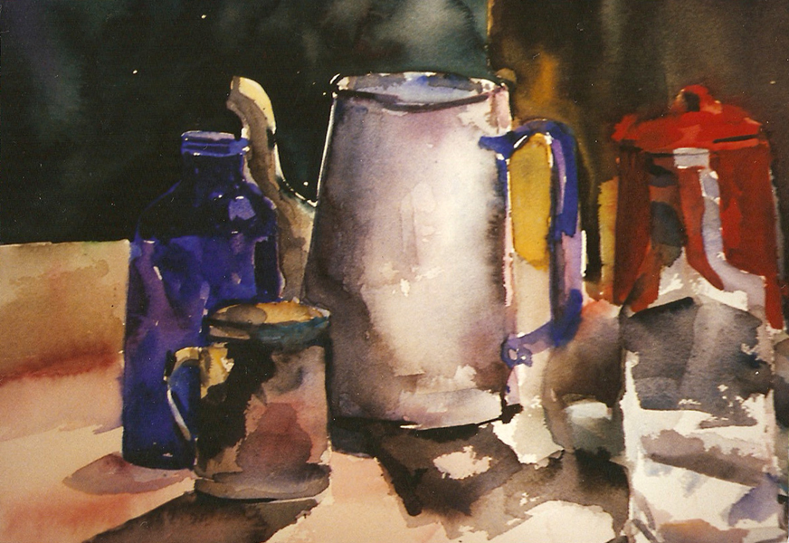 Watercolor of blue glass bottle with white and red coffee pots, a salt shaker made of metal and a transparent glass bottle in the foreground.