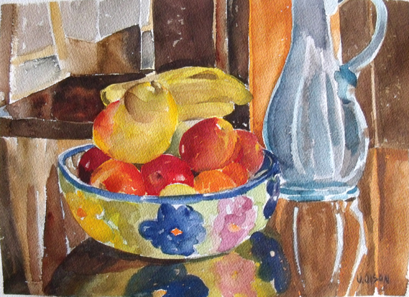 Medium sized watercolor of Fruit bananas, pear and apples in a ceramic bowl with blue glass ewer on the right. sitting on a table