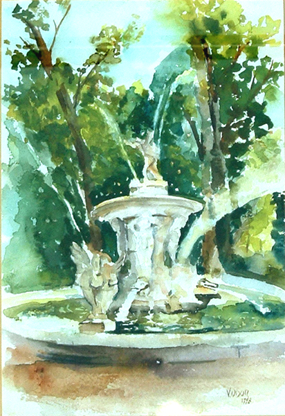 A watercolor of the Fuente de Narciso in Aranjuez Spain. It's a beautiful single dish fountain with a large pond holding a three statues of Altas holding up the superior dish with thier strong backs and palms. Narciso is on the top of the fountain and there is water shooting out everywhere and really high up. There are geese like large birds flanked around the statues in the pond, There are also Aligator like heads shooting out water into the pond.