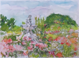 A watercolor of a Spainish Rose Garden with a fountain called La Fuente del Faunito. Pink and Red Roses under a cloudy sky.
