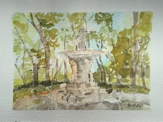 A watercolor of the Fuente de Narciso in Aranjuez, Spain. The fountain is of mythological motif. Four figures of Atlas holds up the dish. On top of the dish is a statue of Narciso. He is looking down at the pond below. In the pond are creatures like frogs and crocodile heads that are not clear in the watercolor. The fountain is dry. There are trees in the background against a clear blue sky.