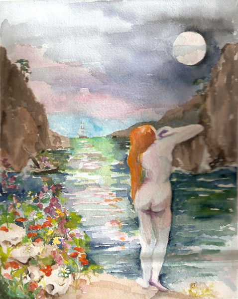 A watercolor of a nude red headed woman overlooking the ocean flanked by cliffs under a full moon.