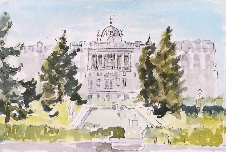A small watercolor of the Royal Palace with evergreens on each side flanking a pool with three square fountains in the middle. A big blue sky and bright green grass.