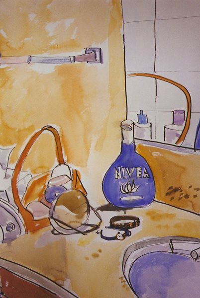 A pen and wash of the bathroom sink. There is a mirror in the background reflecting bottles that are not in the picture, a bottle of nivea infront of the mirror, a little hand mirror on the counter, a basket full of jars, the hand towel holder and the sink with a bit of the faucet showing.