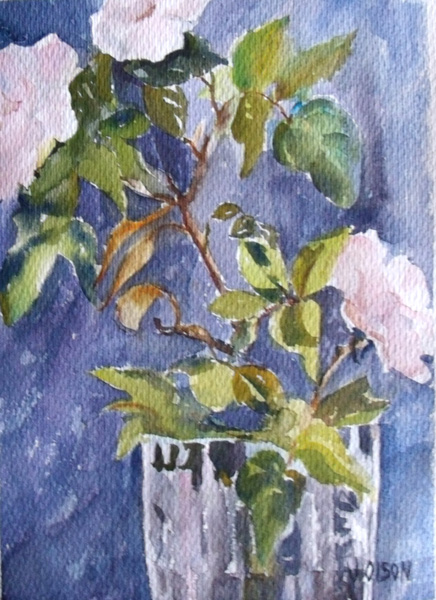 A watercolor of Big Whitish-pink roses in a fine faceted crystal vase with grey-violet background.
