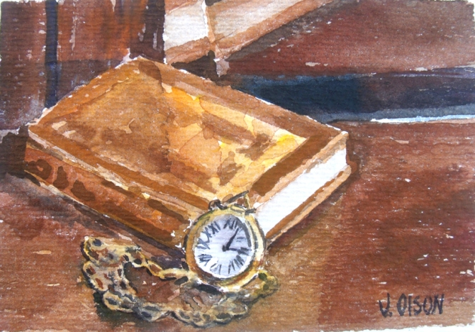 Watercolor of poetry book with necklace watch marking 12:15 with roman numbers.