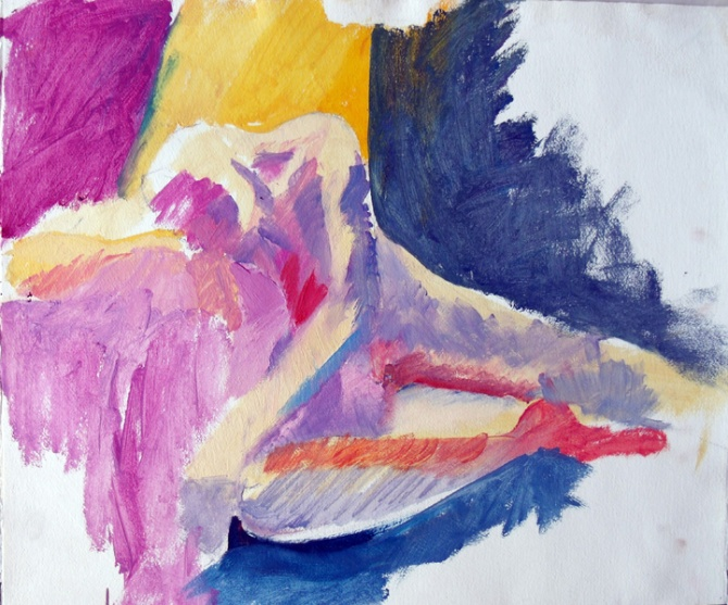 An oil sketch on paper of a boy reclining head down on a square table with a tablecloth. Painted in pinks, yellows and dark blues. Almost pastel looking.