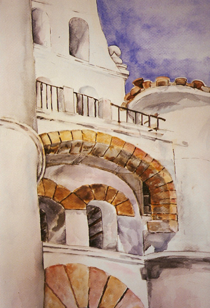 A watercolor of San Diego State University Patio Spanish Style