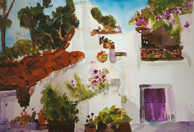 A watercolor of Spanish Village in Balboa Park White small adobe looking houses with purple or violet trim, Eucalyptis trees in the background with a clear celest blue sky. There are little hanging pots all around with little violet and red different shaped flowers.