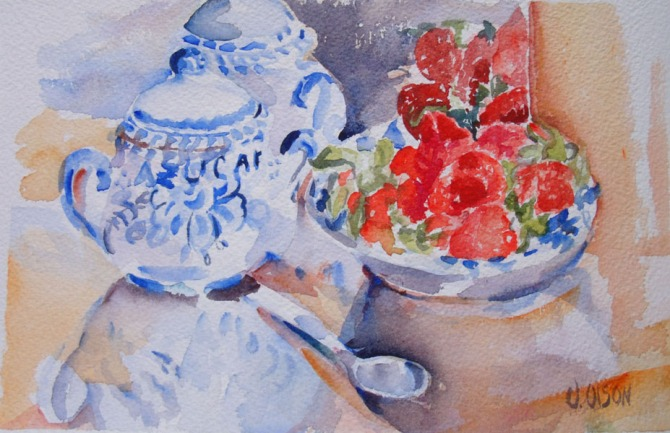 A small watercolor of a talavera sugar bowl next to a bowl of strawberries and a silver spoon.