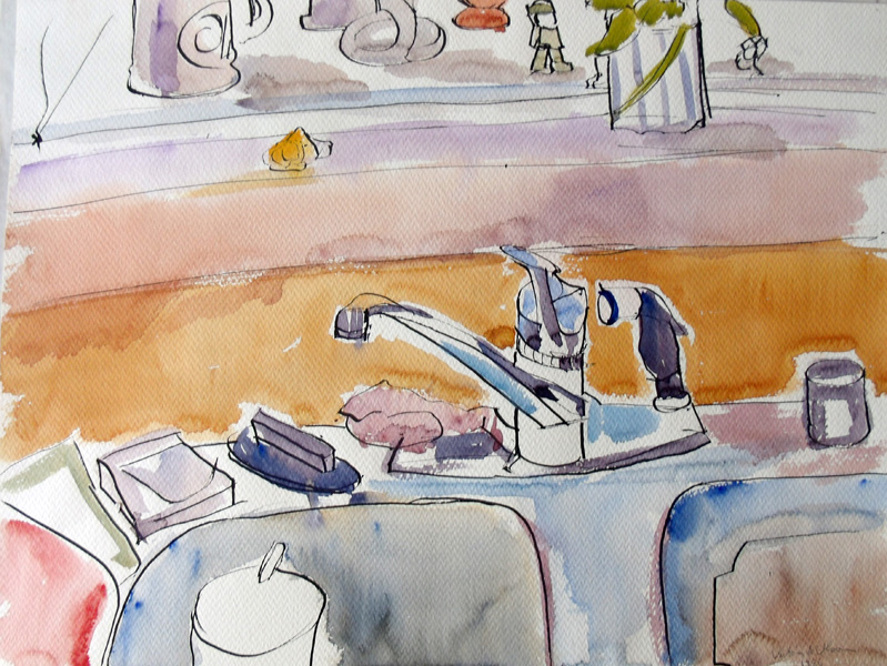 A Pen&Ink Wash of the kitchen sink. The sink, the faucits and part of the window sil can be seen. There is a glass with a spoon in the sink and the colors are blues, browns on lots of white of the paper.