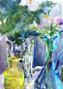 A watercolor of a short yellow bottle, a crystal vase with a rose in it in the background and a gleass blue ewer with a few wildflowers in the foreground.