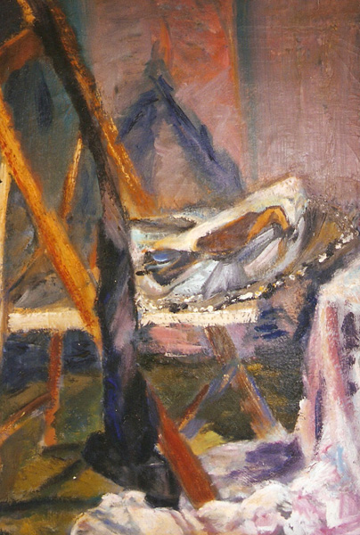 An oil painting of a pair of white shoes on a silver platter with a tie hanging casually on the corner of the wooden chair. off to the right, there is a table covered with what seems to be part of the wedding dress as it continues off the canvas. There are pinks, greens, blues and browns in the painting.