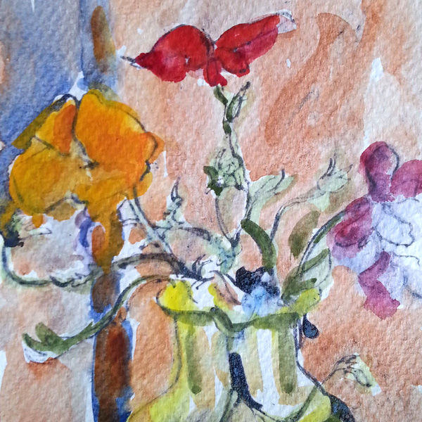 A small line and wash watercolor of wild flowers in a yellow glass bottle.