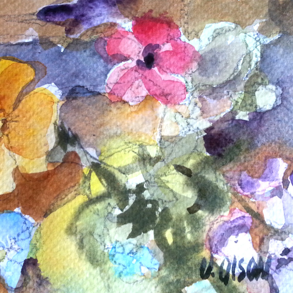 A small line and wash watercolor of wild flowers from a top view. It's a bit abstract. You can see a pink petal flower and part of a California poppy as well as the color blue and purple of other flowers.