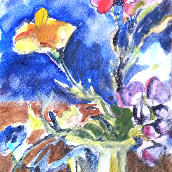 A small postcard size line and wash watercolor with a few wildflowers. An orange poppy in the foreground with a crimson flower on the right top corner and small violet flowers on the bottom right. Blue background