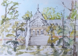 A line and watercolor wash over pen and ink of the Crystal Palace.