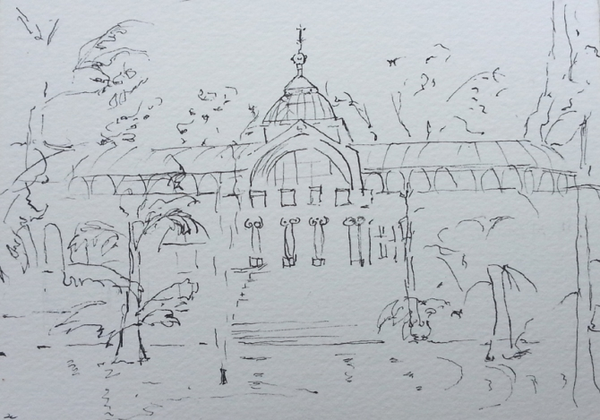 A line drawing of the Crystal Palace in the Retiro Park. You can see the palace with water in front and lots of trees.