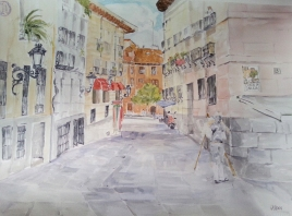 A large watercolor of a popular street in Madrid in Plaza del Conde de Barajas.