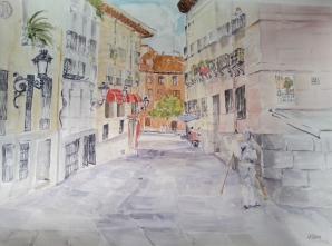 A large watercolor of a popular street in Madrid in Plaza del Conde de Barajas.