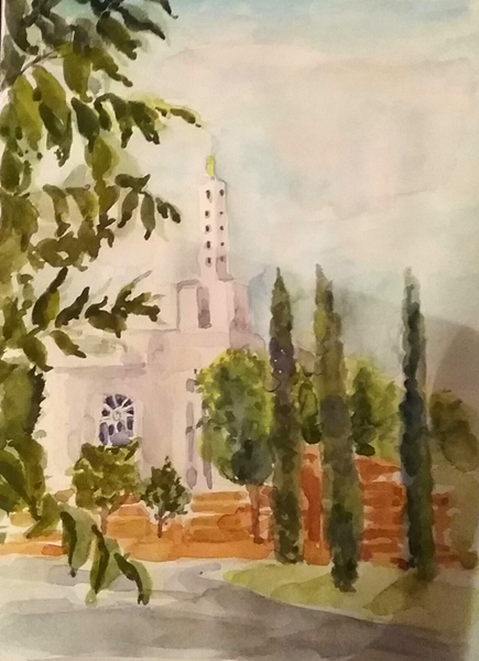 Watercolor of Mormon Temple. A white temple with a cloudy carmen and blue sky with puffy clouds. Cypress trees in front of a red brick wall and leaves falling in the foreground on the left.