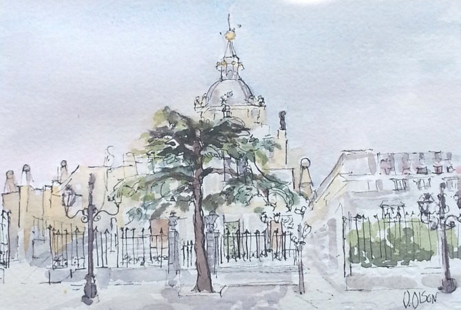 A watercolor pen and ink of the Almudena Cathedral in Madrid Spain. Big tree in front of gates with cathedral in the back.
