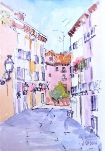 A watercolor of a small stree in Madrid
