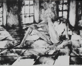 Lithograph print of a nude with his foot on his knee on a checked floor and light coming through the windows