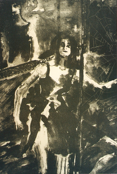 A lithograph of a woman sitting in front of a spider web