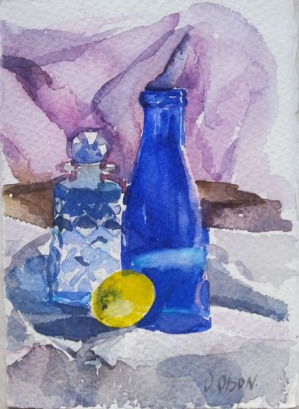 Blue Bottle with Lemon