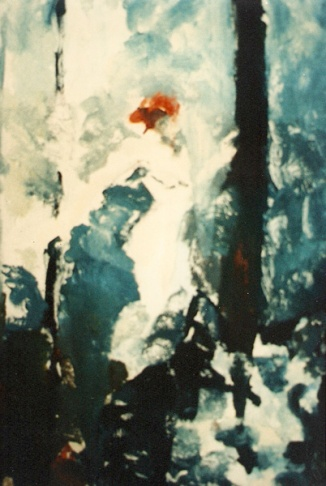 A print of a red headed woman walking through the forest.