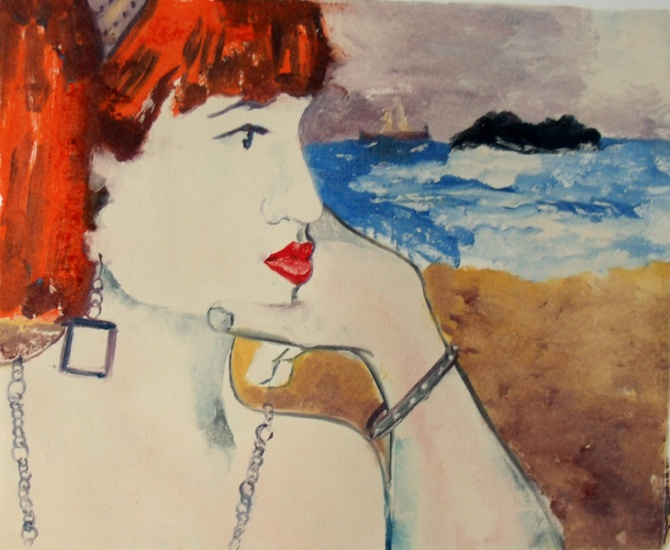Print of a red head looking at the sea with a ship in the horizon