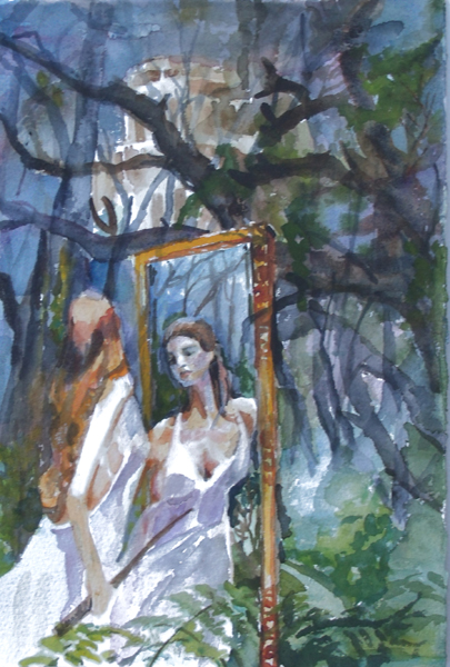 Watercolor of a girl looking in a mirror in a forest with a tall building in the back ground seen through the trees.