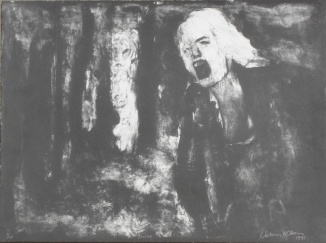 A lithograph of A woman screaming with a tiger in the background