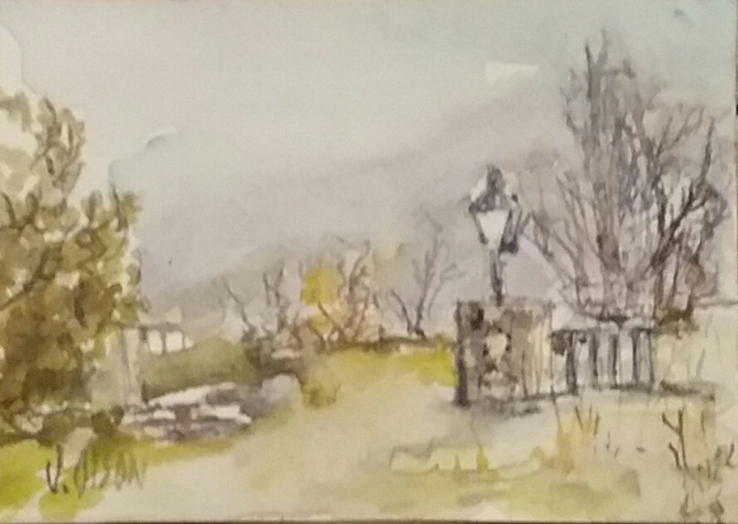 A watercolor of a rural town called Bustarviejo. A cold day with heavy clouds bare trees and evergreens with an old fashioned street light on a stone wall with iron rod and a path .