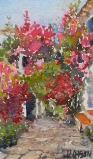 Watercolor with bougainvilla against a white spanish house with a blue sky