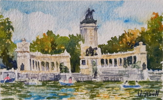 Small watercolor of Monument to Alfonso XII Madrid, Spain. Boats on the water with a structure of columns and trees.