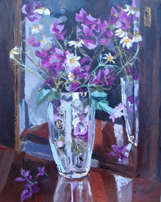 Oil Painting on Canvas of bugainville and daisies in a crystal vase partially refected in the mirror the colors are pinks browns.